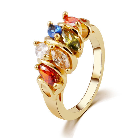 Unique Design 18K Gold Plated Mona Lisa Finger Ring for Female Wedding  High Quality AAA Colorful Cubic Zircon Bijouterie