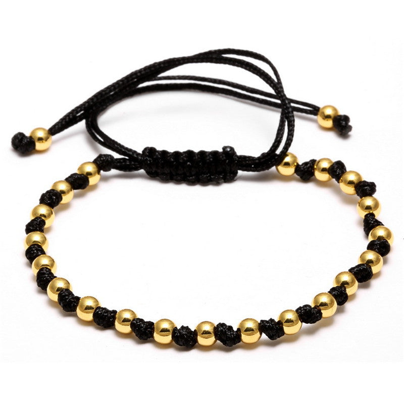 Top Quality Hand-women men's jewelry Rose Gold Plated 4mm Round Beads Bracelet Braided Macrame Bracelets