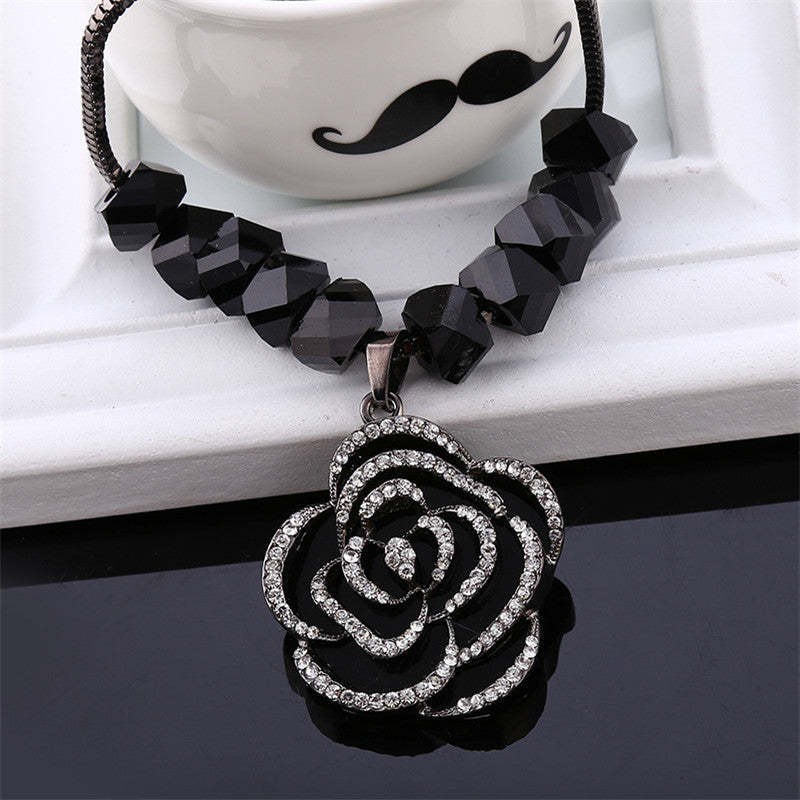 Trendy Women Link Chain Black Rose Luxury Elegant Female Vintage Long Design Sweater Necklace 2016 New Arrival