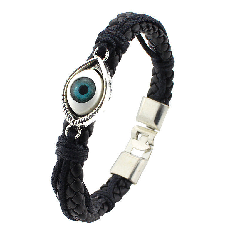 New Fashion Unisex Blue Eye  Braided Leather Bracelet Unique Alloy button Design Bangles Jewelry