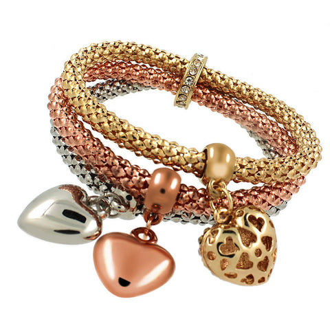 Fashion Alloy Bracelet three colors suit elastic corn Chain Bracelet  Inlay Love Shape Pendant Bracelet for Women Gift