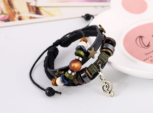 Fashion Punk Style Leather Beaded  Bracelet Retro Lace-up Leather Bracelets For Women Men Jewelry Wholesale Retail