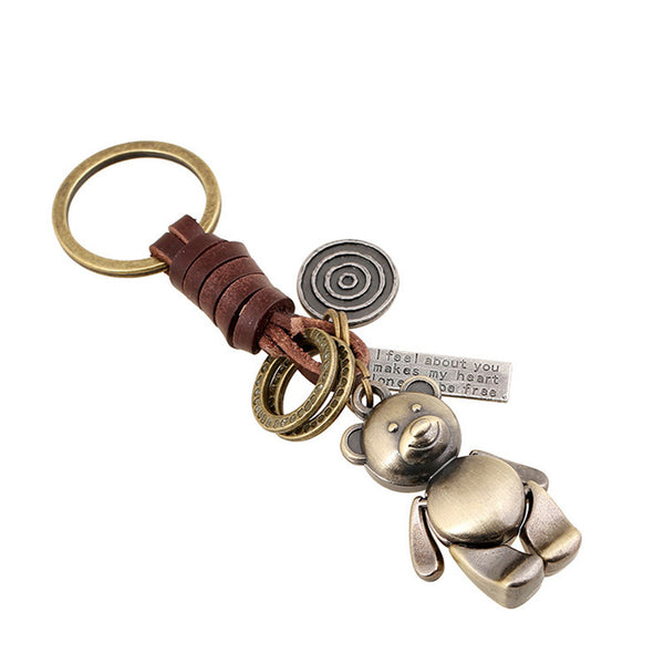 New Arrival Keychain Creative Gifts of men and women Lovely Bear Retro Alloy Braided Leather Keychain key chains key rings - Watchesfixx