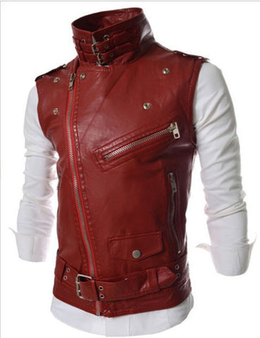 New Men's Fashion Leather Vest Jackets Man Sleeveless Motorcycle Tank Tops Spring Autumn zipper decoration Outerwear Coats