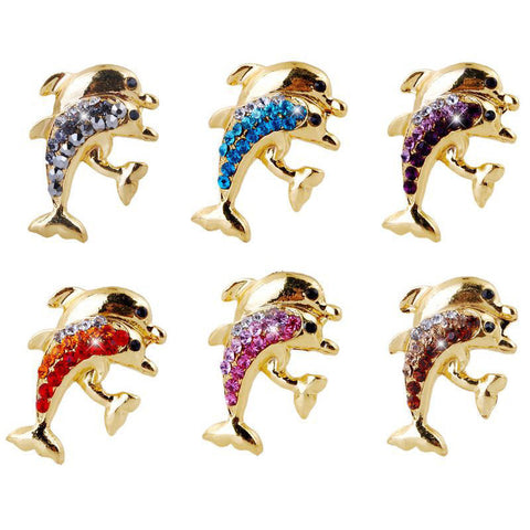 New Style Brooches for women and men Rhinestone Gold Alloy Brooches Lovely Double Dolphins Shape Brooches Gift