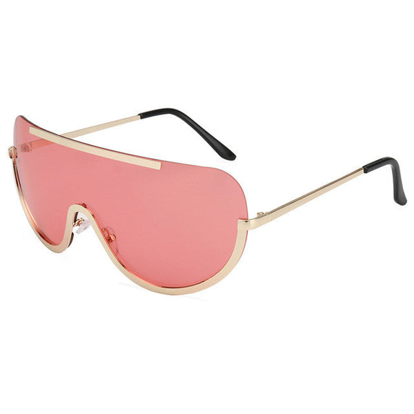 ROYAL GIRL Retro Inspired Women Sunglasses Oversize Shield Metal Half Frame Eyeglasses Frame ss622 - Watchesfixx