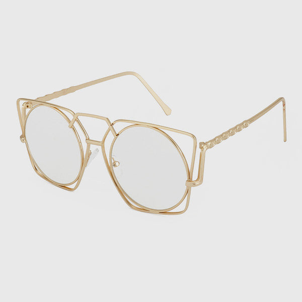 ROYAL GIRL Newest Women Retro Round Sunglasses Vintage Oversized Metal Frame Double beam Flat Panel Lens SS235 - Watchesfixx