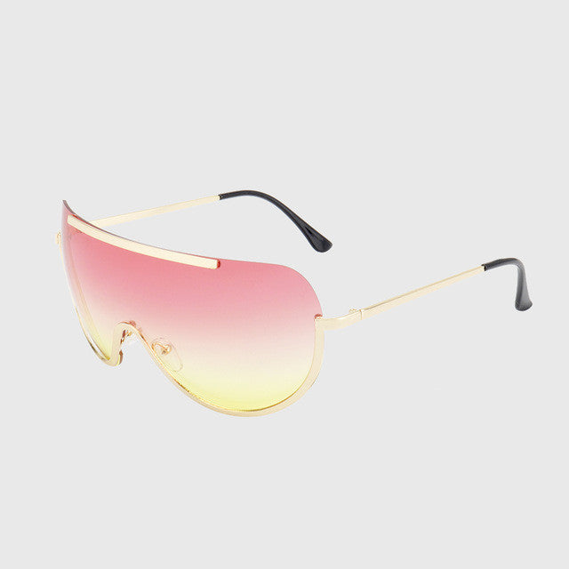 ROYAL GIRL Retro Inspired Women Sunglasses Oversize Shield Metal Half Frame Eyeglasses Frame Pink Yellow Lens ss624 - Watchesfixx