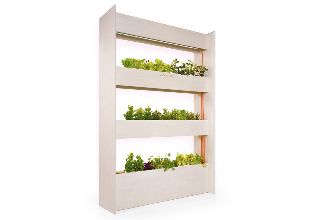 The Click & Grow Wall Farm against a white backdrop.