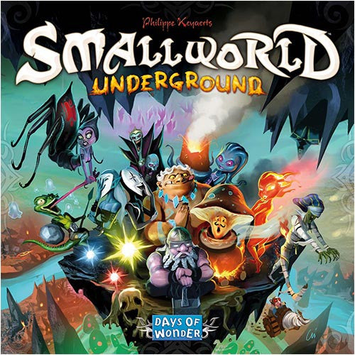 """What with all the buried remnants of past generations, space in Small World is even tighter underground than above.  Your ancestors' hopes for you to carve out an underground empire are in jeopardy. Others have dared to burrow beneath your land, leaving little space left for the living or the dead!