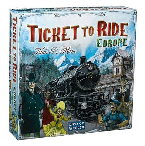 """Ticket to Ride"" Europe is the next installment in our best-selling train adventure series.  Players collect cards of various types of train cards, and use them to build stations, pass through tunnels and onto ferries, and lay claim to railway routes throughout Europe.  