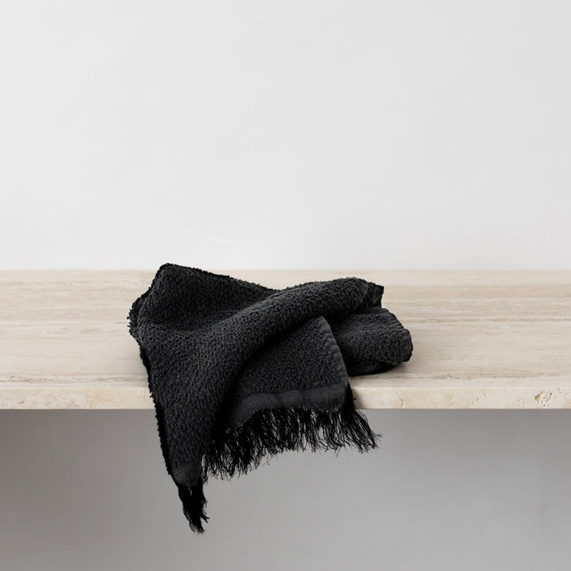 Pure Linen Hand Towel in Black