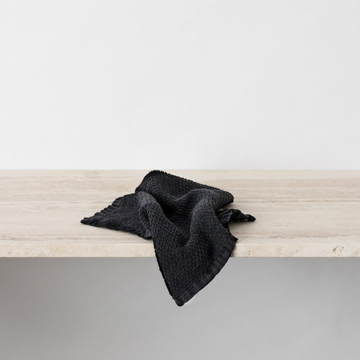 Pure Linen Wash Cloth in Black