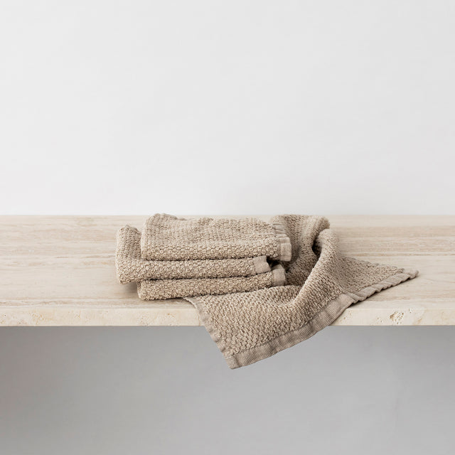 Pure Linen Wash Cloth Bundle in Natural