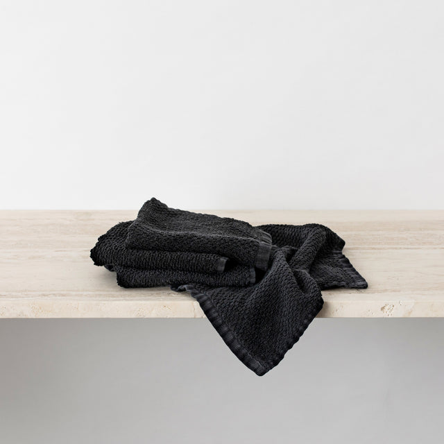 Pure Linen Wash Cloth Bundle in Black