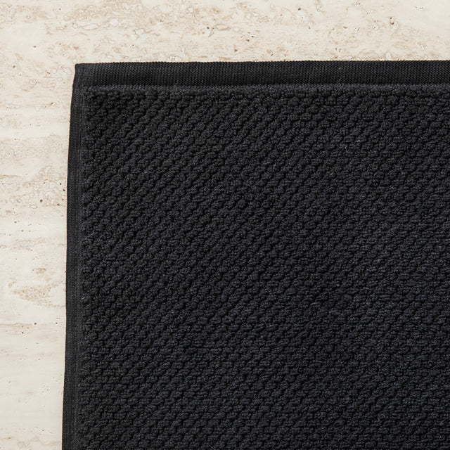 100% Cotton Bath Mat in Black Corner Detail