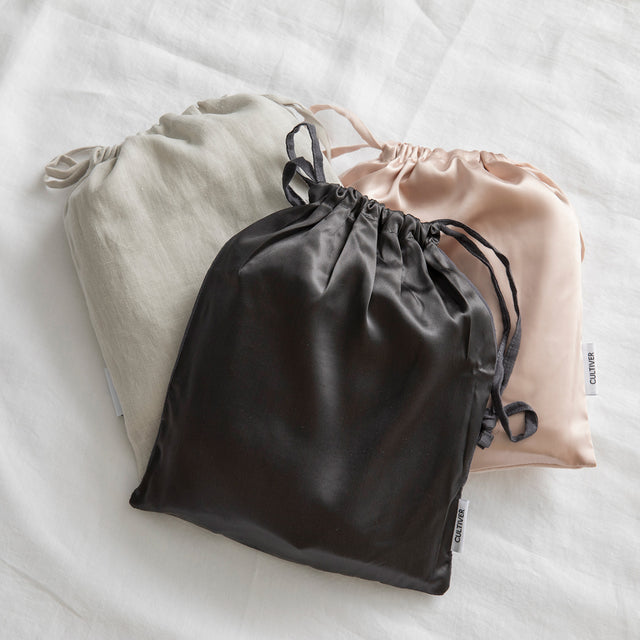 Silk Linen Pillowcase Bags in Smoke Gray, Slate and Blush.