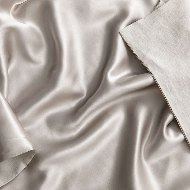 Close up on a Silk Linen Flip Pillowcase in Smoke Gray