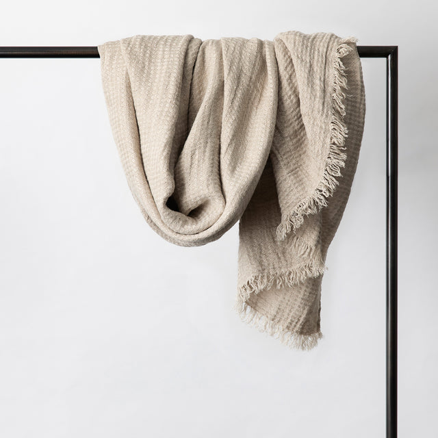 Estela Linen Waffle Throw in Natural