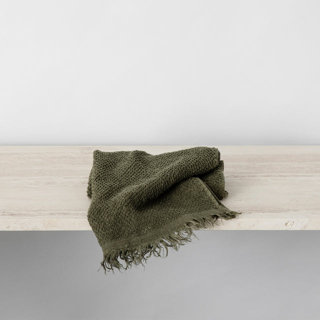 Pure Linen Hand Towel in Forest color folded