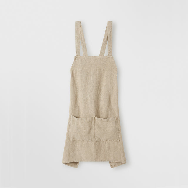 front of Jude Linen Apron in Natural