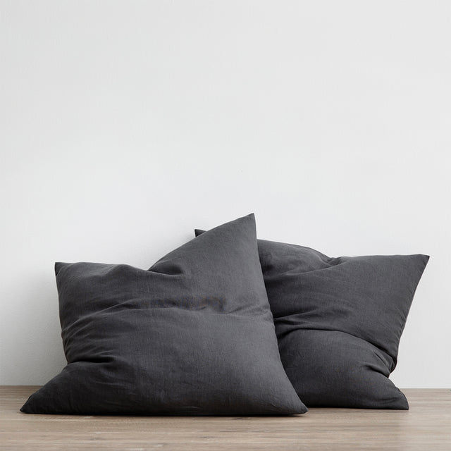Set of 2 Linen Euro Pillowcases in Slate