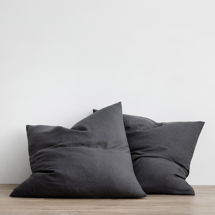 Set of 2 Linen Euro Pillowcases - Slate