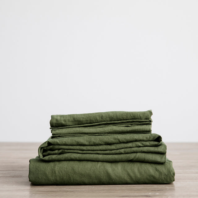 Linen Sheet Set stack in Forest