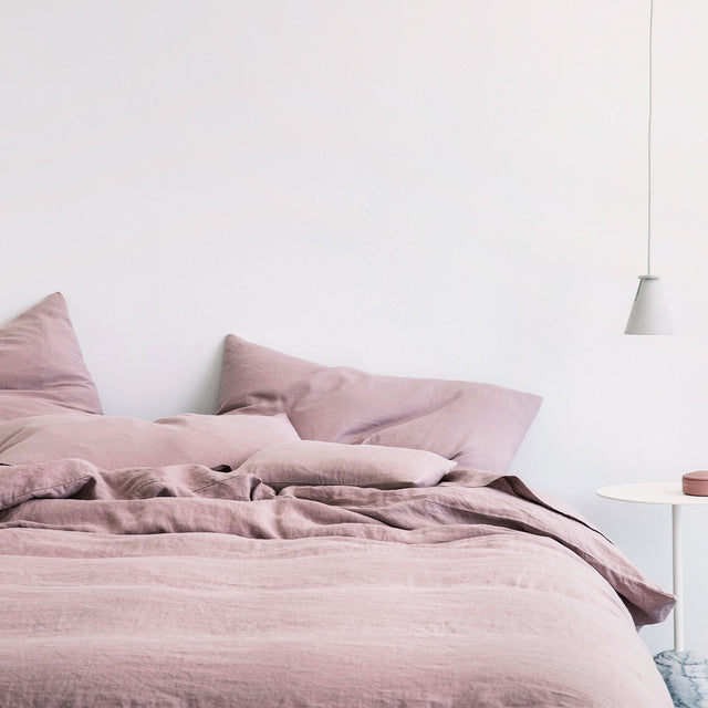 Linen Duvet Cover and Pillowcases in Dusk