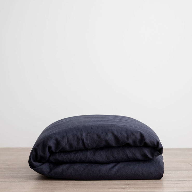 Linen Duvet Cover - Navy