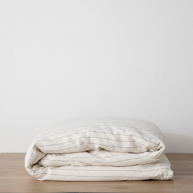 Linen Duvet Cover - Pencil Stripe