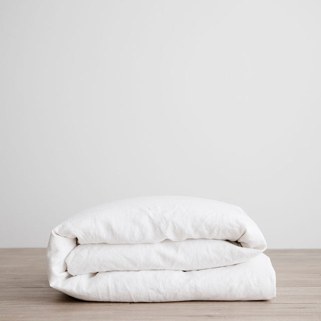 Linen Duvet Cover in White folded.