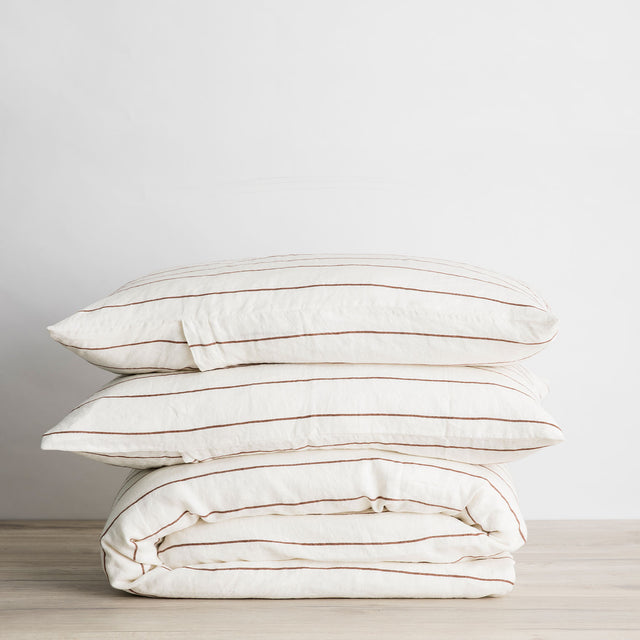 Linen Duvet Cover Set - Cedar Stripe