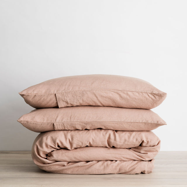 Linen Duvet Cover Set in Fawn folded and stacked.