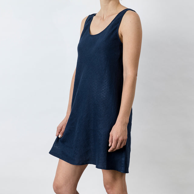Hana Linen Dress - Midnight