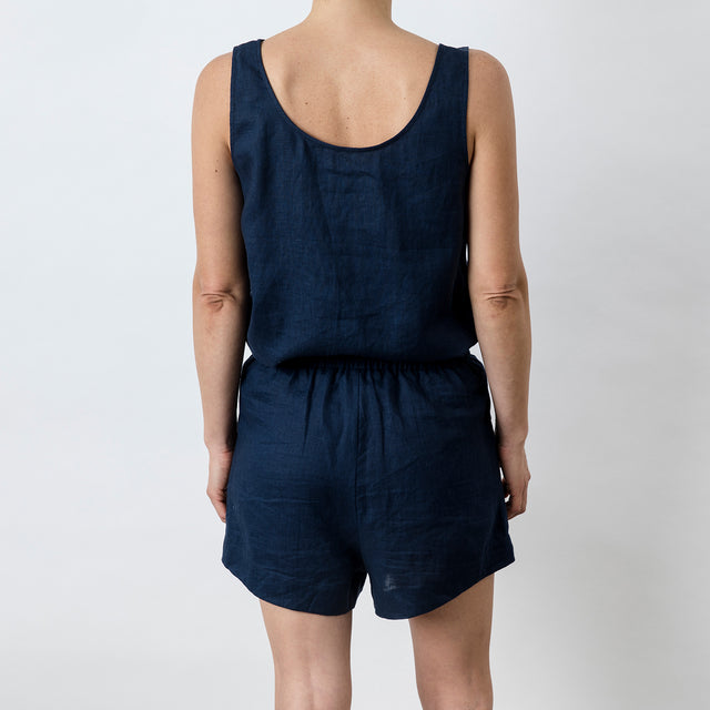 Back view of Piper Linen Short in Midnight. Model is also wearing the matching Piper Linen Singlet in Midnight.