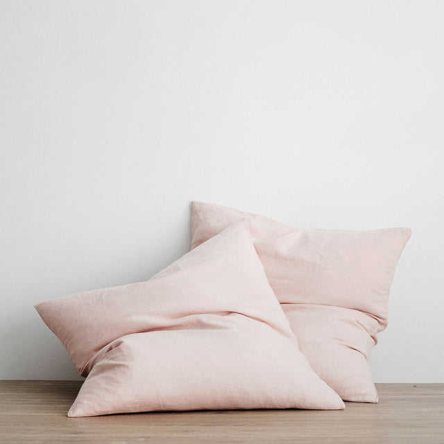 Set of 2 Linen Euro Pillowcases - Blush