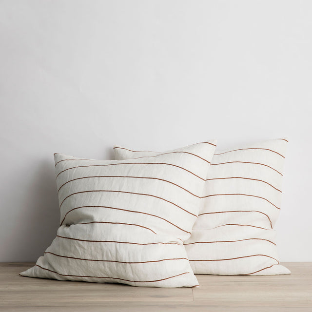 Set of 2 Linen Euro Pillowcases - Cedar Stripe