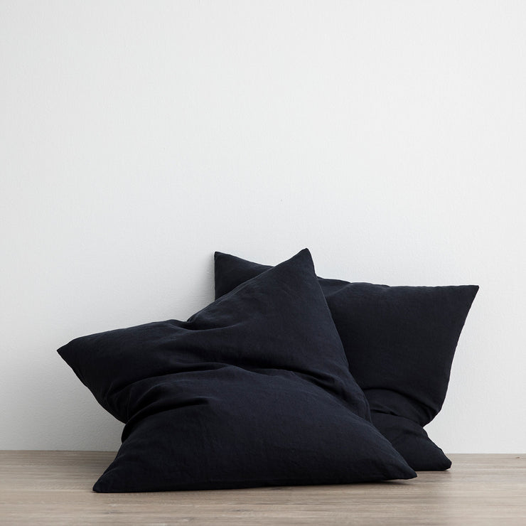 Set of 2 Linen Euro Pillowcases - Navy