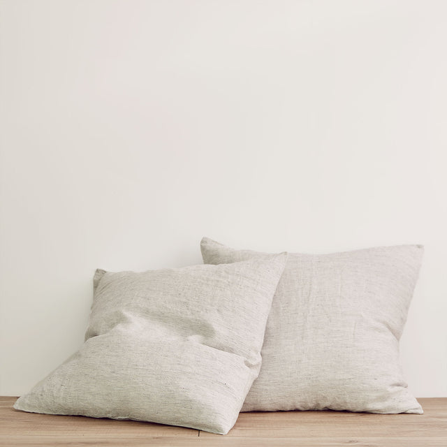 Set of 2 Linen Euro Pillowcases - Pinstripe