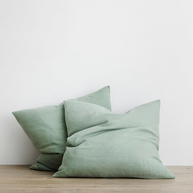 Set of 2 Linen Euro Pillowcases - Sage