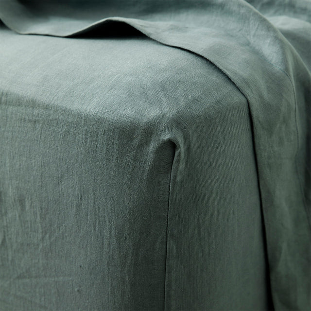 Close up image of Linen Fitted Sheet in Bluestone