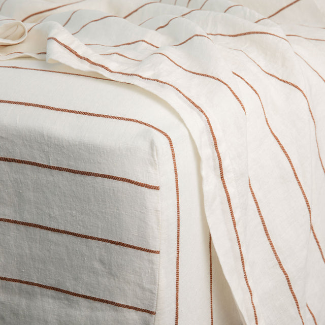 Linen Fitted Sheet - Cedar Stripe