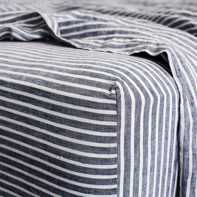 Linen Fitted Sheet - Indigo Stripe