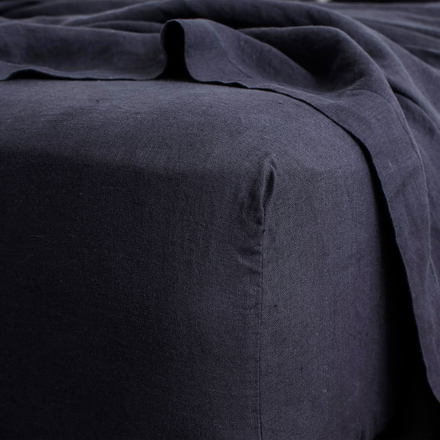 Linen Fitted Sheet - Navy