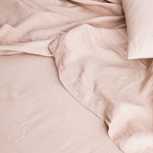 Linen Flat Sheet with Border in Blush
