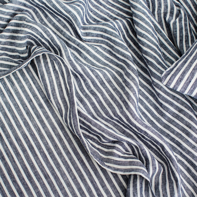 Linen Flat Sheet with Border in Indigo Stripe