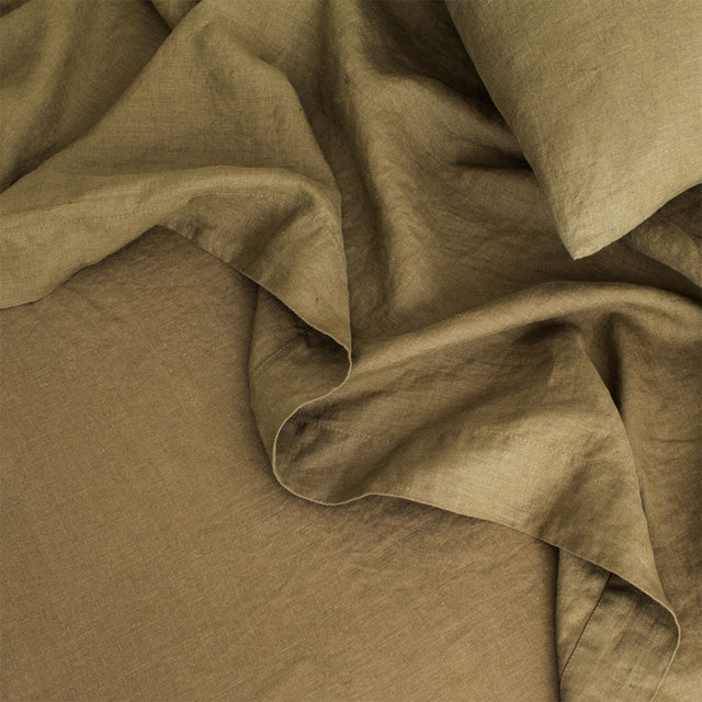 Linen Flat Sheet with Border in Olive