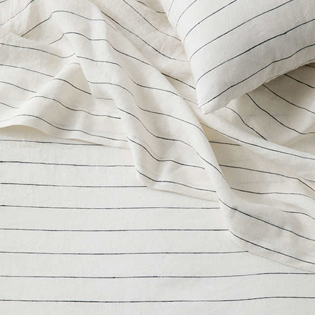Linen Flat Sheet with Border in Pencil Stripe