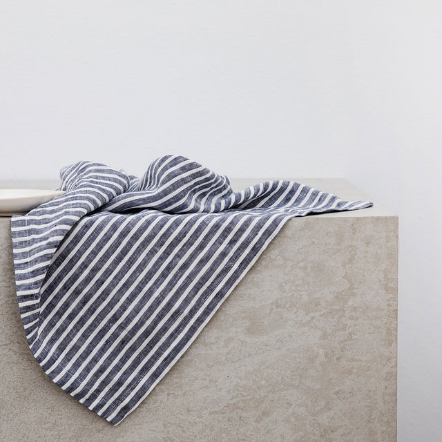 Linen Table Napkins - Indigo Stripe